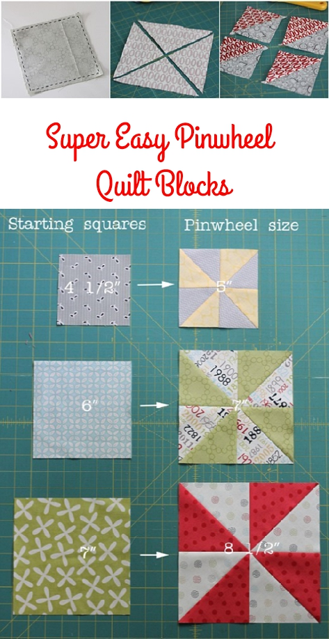 Easy Pinwheel Quilt Blocks from 2 squares