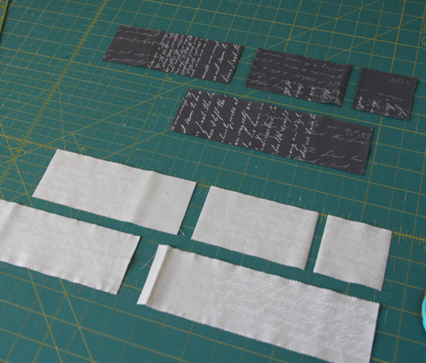 Cutting strips grayscale quilt