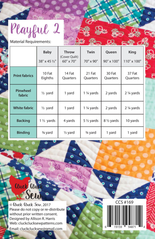 Playful 2 Quilt Pattern, 5 sizes, fat quarter friendly