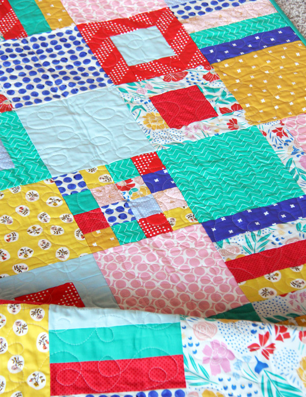 Spring Squares and Strips Quilt, Free Pattern, Fat Quarter Friendly