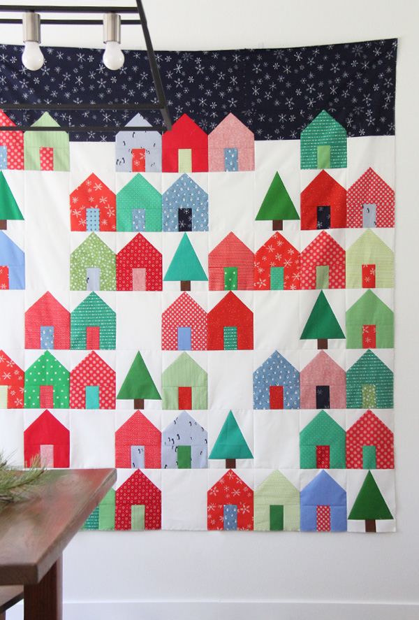 Suburbs Christmas Quilt with a Free Tree Block Pattern