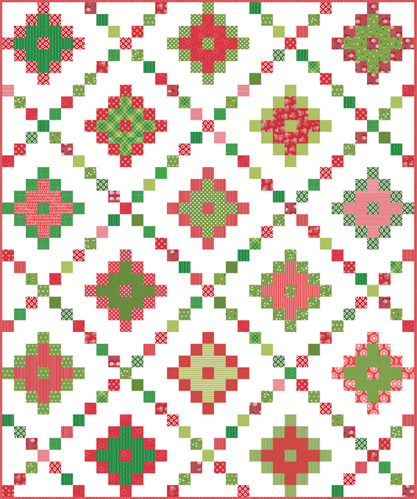 Pixel Chain Quilt in Christmas