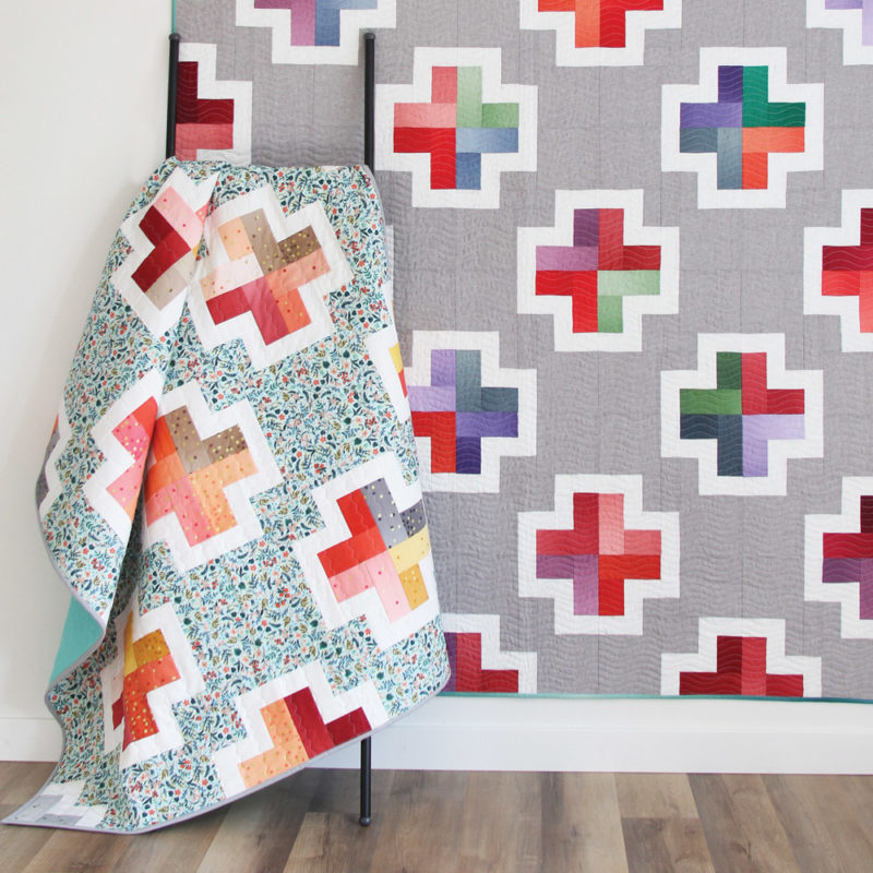 Positive, a beginner friendly jelly roll, layer cake, or scrap quilt pattern in 5 sizes