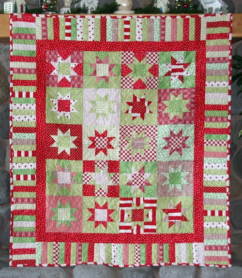 This one my Mom made before I had the quilting bug. I love the colors and the absence of novelty Christmas fabric.