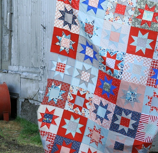 """""""No Point Stars"""" Free Patriotic Quilt Pattern designed by Allison from Cluck Cluck Sew"""