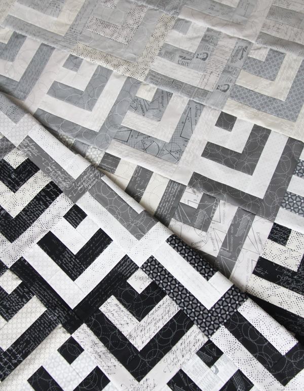 Grayscale Quilt Top, Cluck Cluck Sew