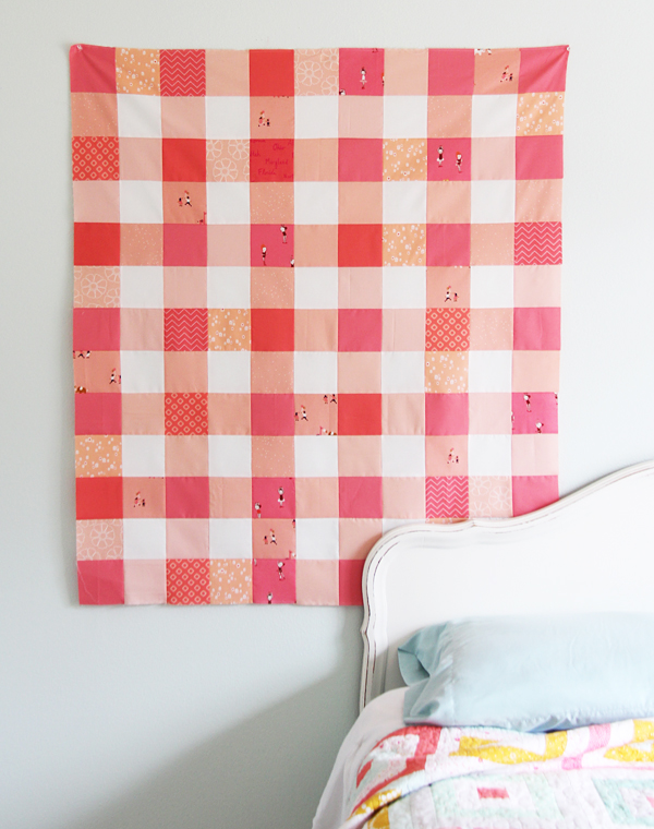 Gingham Coral Quilt Top
