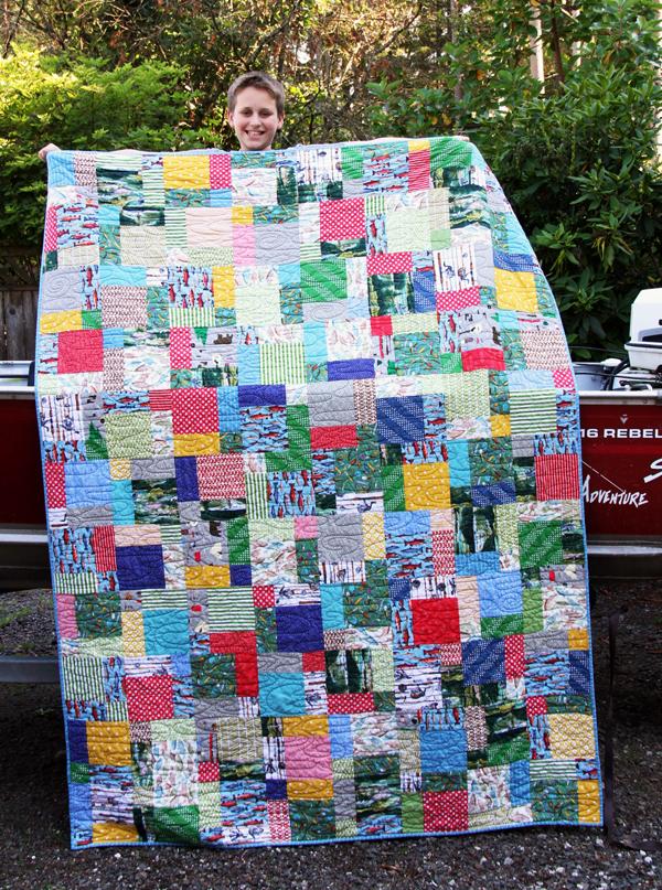 Ben's fish fabric quilt