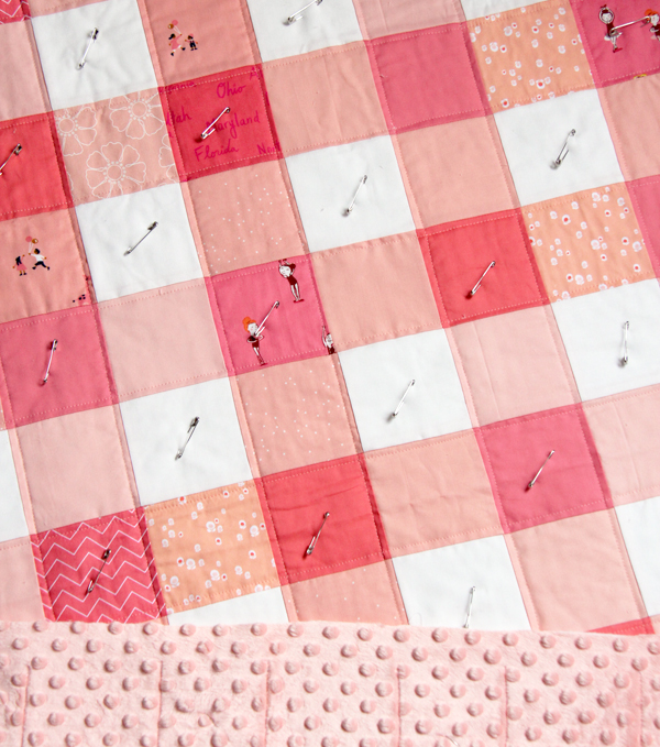 Backing a quilt with minky