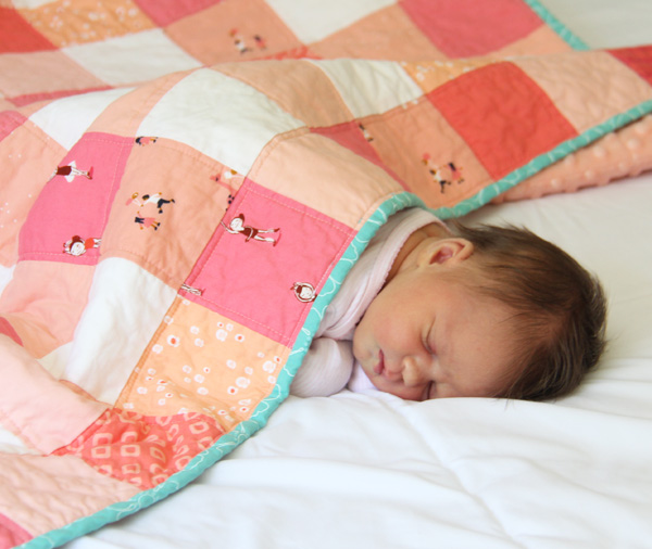 Coral Gingham baby quilt