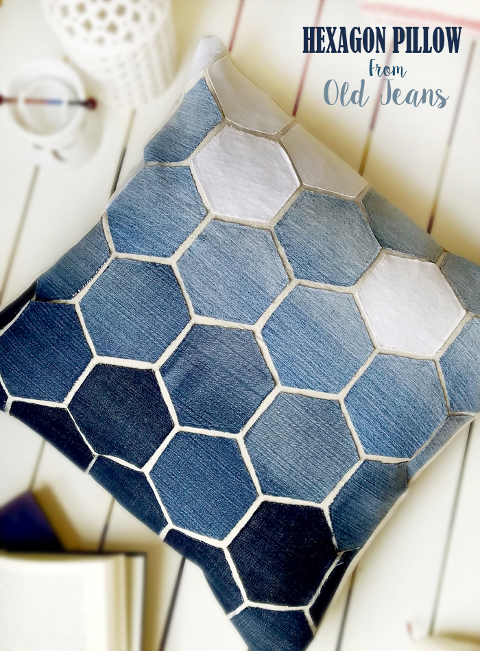 Hexagon Pillow from old jeans