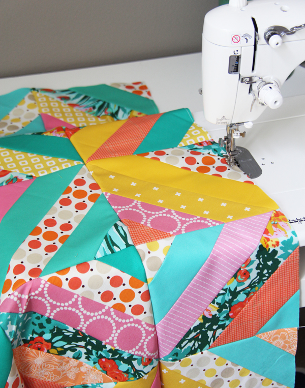 Diagonal Strip Quilt, Stay stitch the edges to prevent stretching