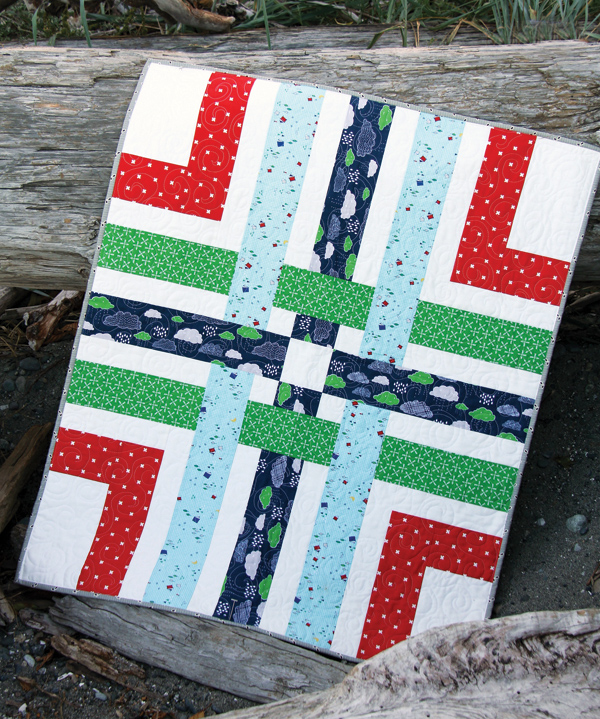 Woven Quilt Pattern, 4 fat quarters plus a background fabric makes a baby quilt!