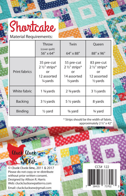 Shortcake Quilt Pattern, Jelly Roll Friendly, Cluck Cluck Sew
