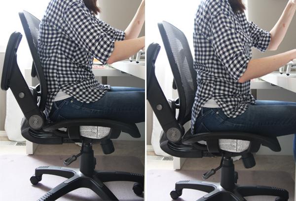 Sitting properly at a sewing machine