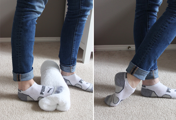 Leg and foot stretch during sewing