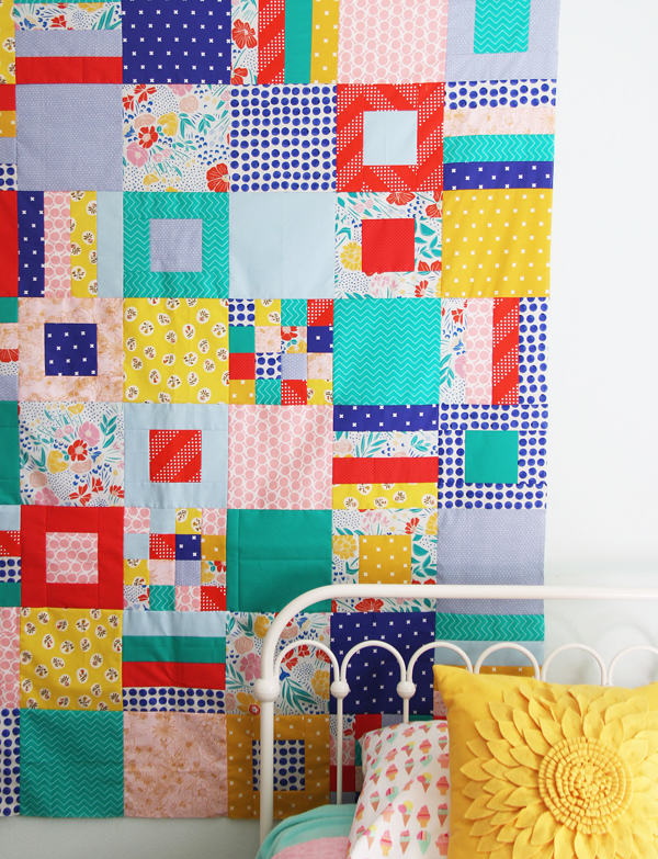 Squares and Strips Quilt, Free Pattern, Fat Quarter Friendly