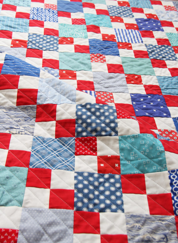 Scrappy Summer Pattern in Red White and Blue