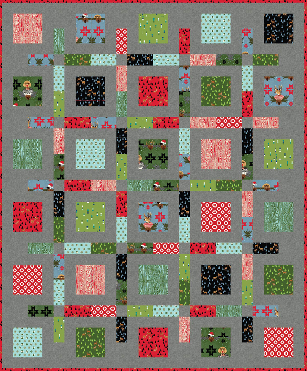 Boxed Up Quilt Pattern in Holiday Homies by Tula Pink