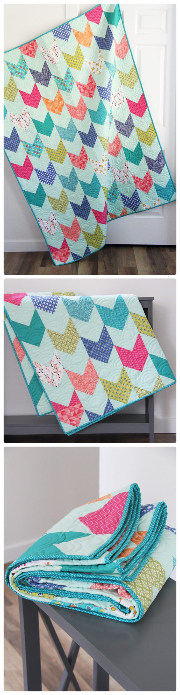 Aqua One Way Quilt and Pattern