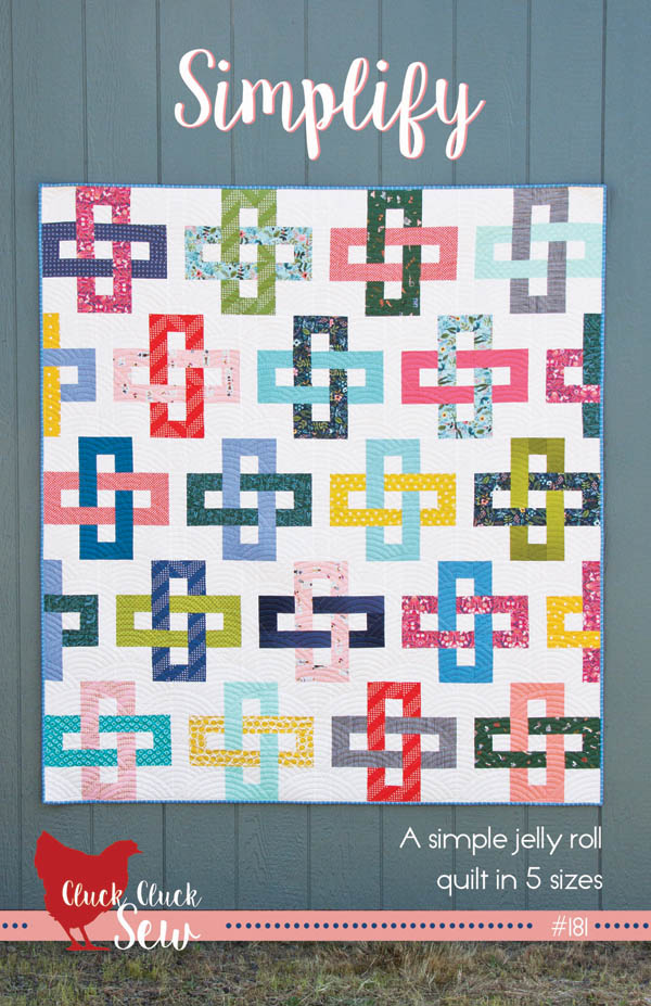 Simplify Quilt Pattern, Jelly roll pattern in 5 sizes