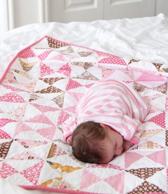 Pink Hourglass Baby Quilt Tutorial
