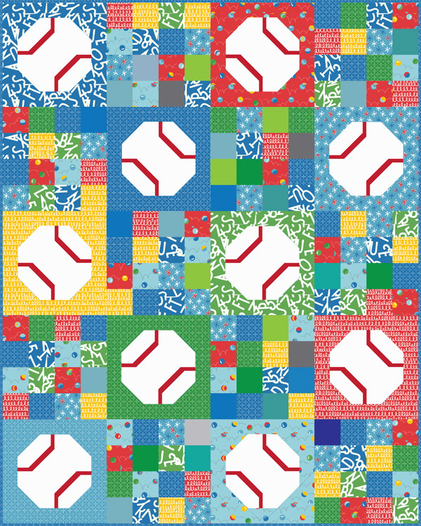 Batter Up, an easy baseball (or tennis ball) quilt pattern