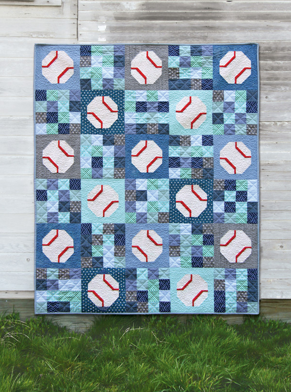 Batter Up, an easy baseball (or tennis ball) quilt pattern!