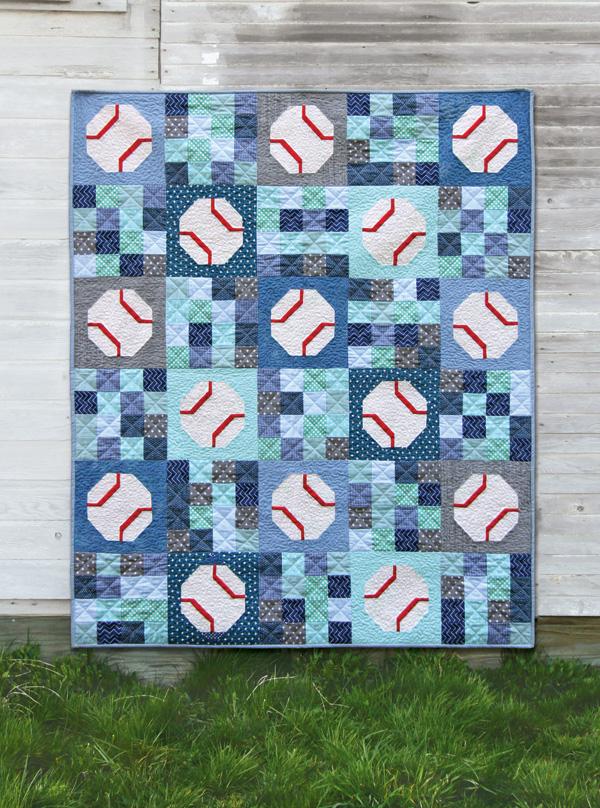 Batter Up, an easy baseball (or tennis ball) quilt pattern!