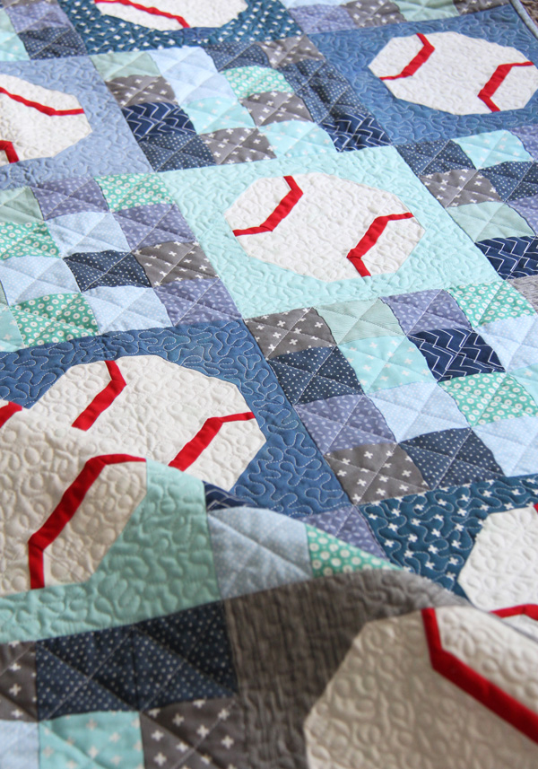 Batter Up, an easy baseball (or tennis ball) quilt pattern