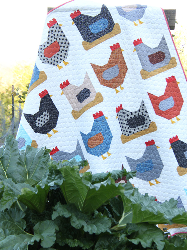 A Chicken Quilt on White