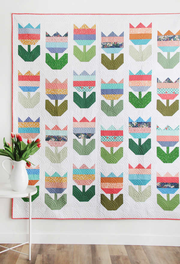Tulips Quilt Pattern, Jelly Roll or Layer Cake